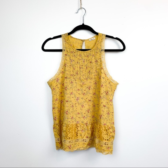Yellow Floral Hollister Tank Top